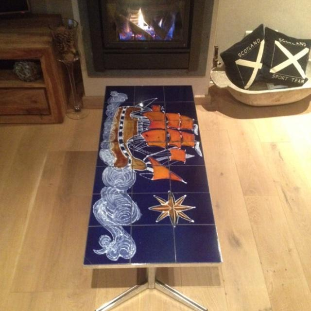 Vintage Belgian Chrome Tiled Coffee Table - Image 3 of 6