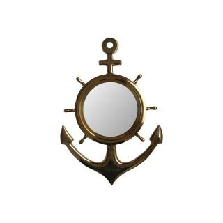 Brass Anchor Mirror, Nautical Decor