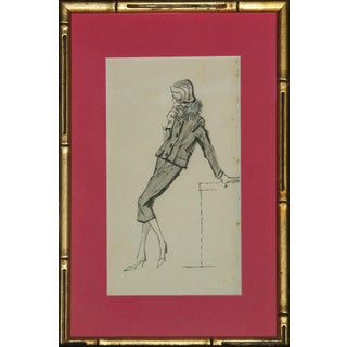 Vintage Framed Chic Lady Watercolor Sketch