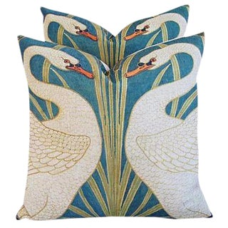 "20"" Graceful Pair of Swans Linen Feather/Down Pillows - Pair"