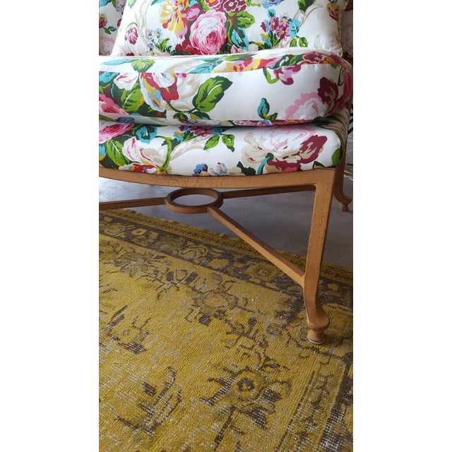 Floral Chairs with Iron Bases - A Pair - Image 4 of 5