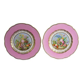 English Porcelain Pink-Ground Pair of Botanical Plates Probably Minton