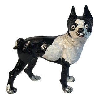 Vintage Hubley Boston Terrier Cast Iron Door Stop