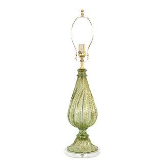 Barovier & Toso Green Murano Glass Lamp