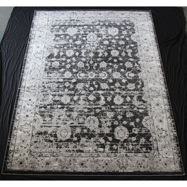 """Vintage Style Distressed Gray Rug- 5'3"""" x 7'7"""" - Image 2 of 5"""