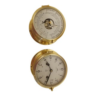 Maritime Royal Mariner Barometer & Chronograph Brass Schatz - A Pair