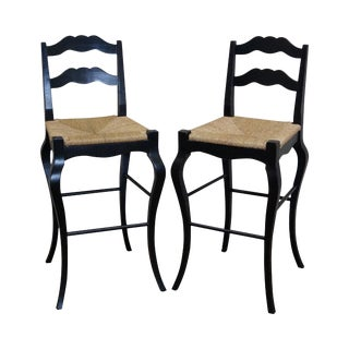 French Country Black Painted Rush Seat Bar Stools - A Pair