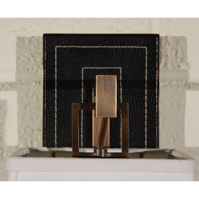 Paul Marra Black Leather Back Sconce with Tapered Linen Shade - Image 6 of 6