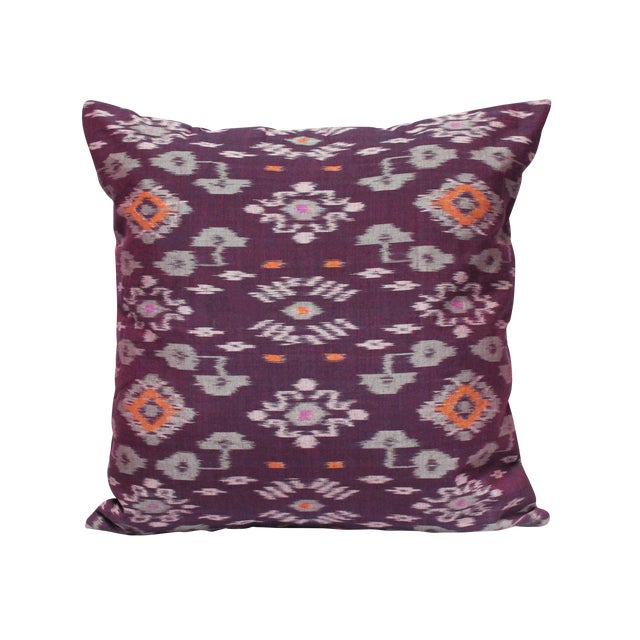 Karma Purple Balinese Handwoven Ikat Pillow - Image 1 of 5