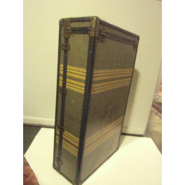 Vintage 1930s Petite Tweed Steamer Trunk - Image 7 of 10