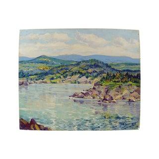 Simone Michael Vintage Lakeside Landscape Painting