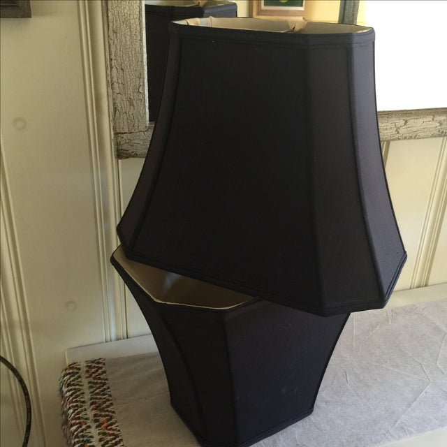 Mid-Century Black Silk Lamp Shades - A Pair - Image 11 of 11