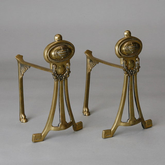English Small Brass Andirons- A Pair - Image 2 of 6