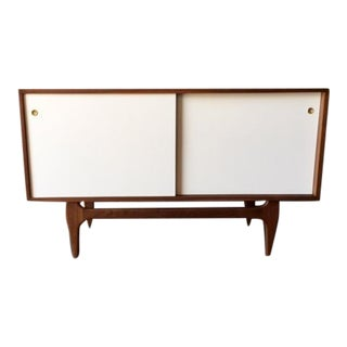 Custom Mid Century Style Walnut Sculpted Base Credenza