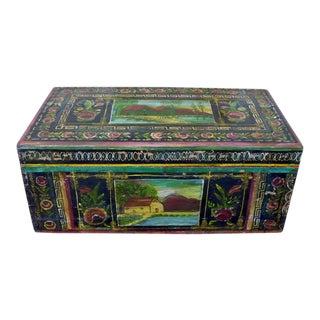 Antique Mexican Lacquer Painted Baul Decorative Trunk Signed Carmen Amigon