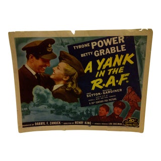"""Vintage Movie Poster """"A Yank in the r.a.f."""" Tyrone Power & Betty Grable - 1953"""