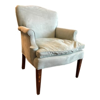 English Country Teal Ultra Suede Accent Chair