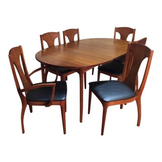 Mid Century Modern Kroehler Walnut Dining Table & 6 Chairs