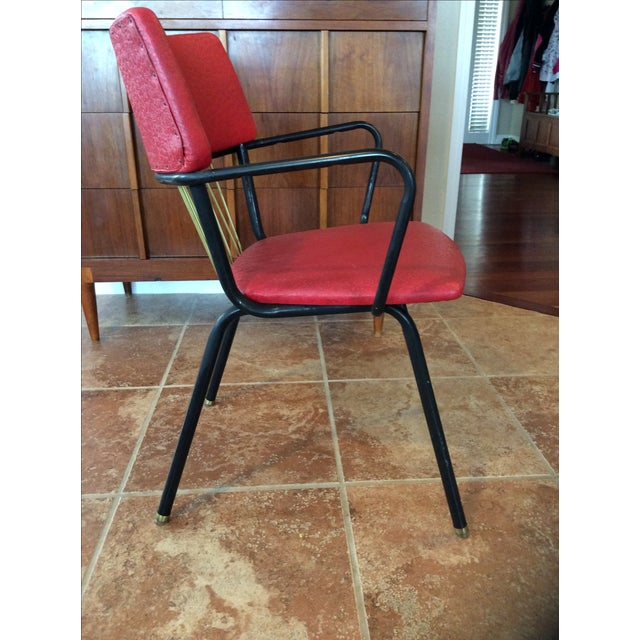 Mid-Century Red Vinyl Dining Chair - Image 7 of 8