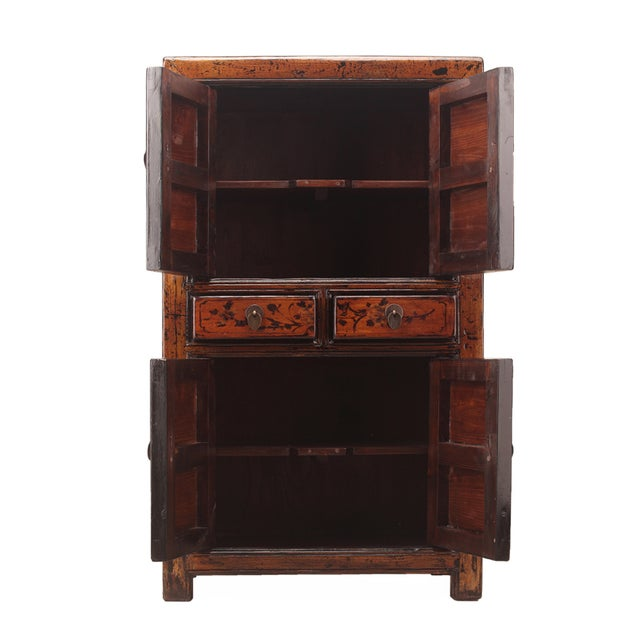 Chinese Rustic Orange Two Shelves Flower Cabinet - Image 2 of 5