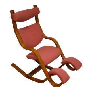 Mid-Century Style Bentwood Pink Lounge Chair