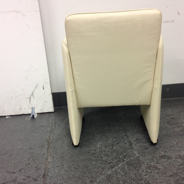Ivory Leather Chair by Calia - Image 5 of 10