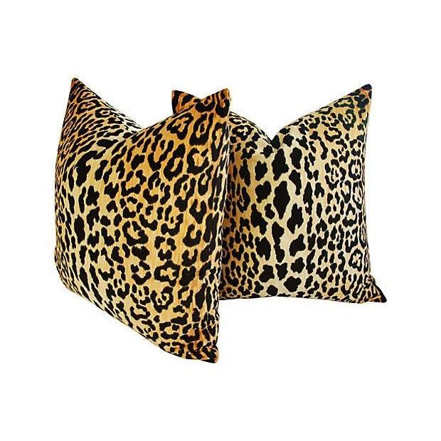 Image of Designer Braemore Leopard Velvet Pillows - Pair