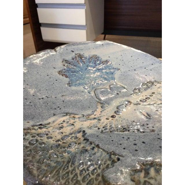 Oversized Sculptural Blue Glazed Earthenware Plate - Image 4 of 4