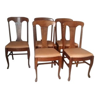 Queen Anne Style Antique Oak Dining Chairs - S/5