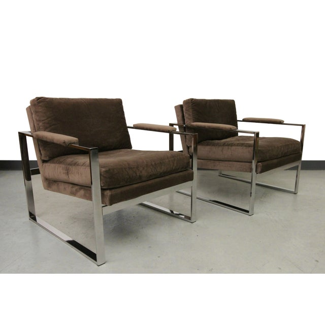 Baughman Chrome Mid Century Lounge Chairs - Pair - Image 2 of 6