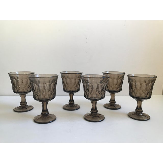Vintage Thumbprint Smoked Pressed Glass Goblets - Set of 6 - Image 7 of 7