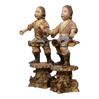 Italian Carved Polychrome Figures - A Pair