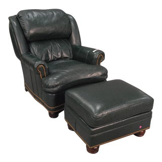 Hancock and Moore Green Leather Austin Wingback Recliner Chair & Ottoman