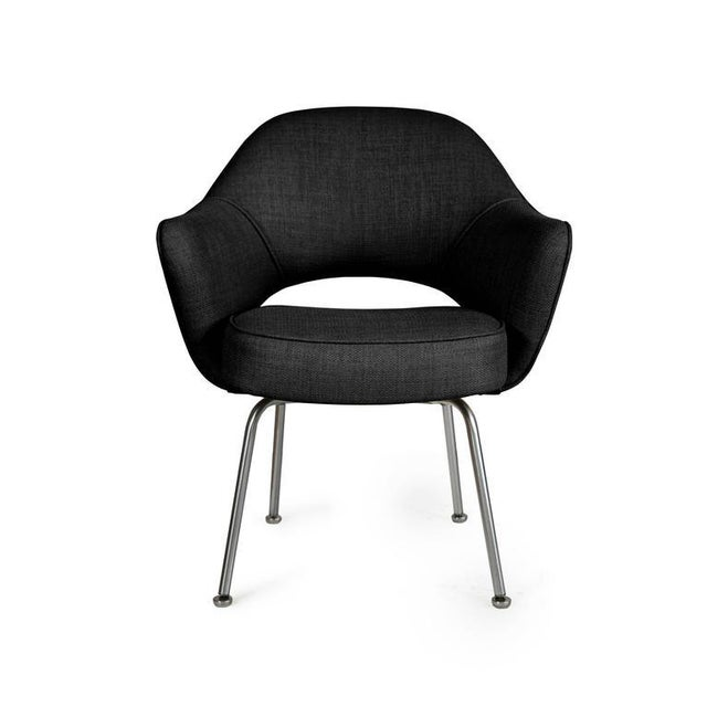 Image of Saarinen Executive Armchairs in Black Woven-Microfiber, Set of Six