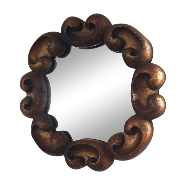 Image of Vintage Ornate Gilded Wood Decorative Mirror