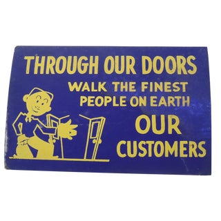 40s Blue and Yellow Shop Sign