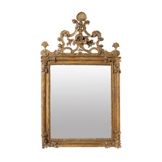 Italian 19th Century Richly Carved Painted Wood Mirror with Traces of Gilding