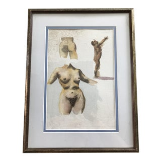 Vintage Framed Watercolor Nude Painting