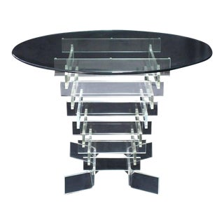 Stacked Lucite Base Round Gueridon Center Table