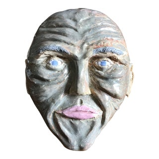 Outsider Folk Art Head Pottery Sculpture