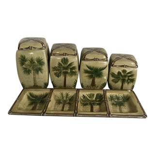Tropical Island Palm Canisters & Matching Tray by Bora Bora Ceramics - Set of 4