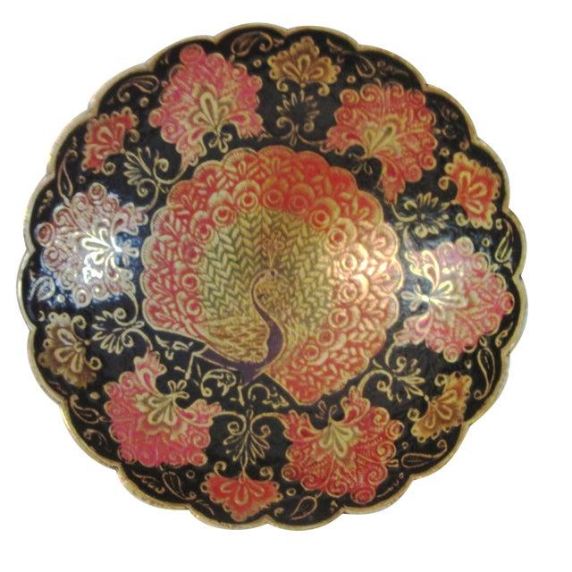 Indian Brass & Enamel Peacock Bowl - Image 1 of 8