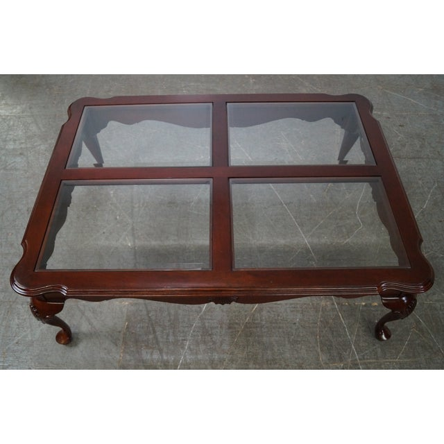 Ethan Allen New Country Coffee Table: Ethan Allen Georgian Court Cherry Queen Anne Glass Top