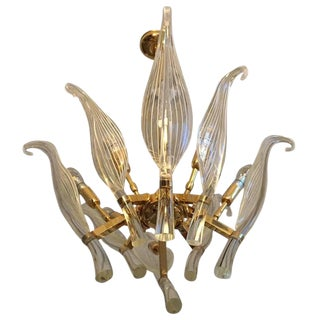 Italian Seguso Murano Glass and Brass Eight-Leaf Cattail Chandelier