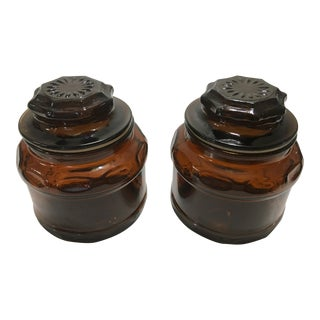 Round Dark Amber Glass Lidded Vanity Jars - A Pair