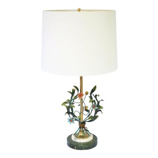 Vintage Art Nouveau Tole Metal Flower Lamp