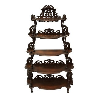 Antique Walnut Etagere Display Shelving Unit