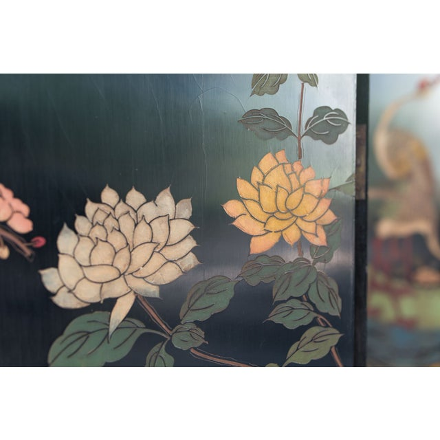 Large Lacquered Asian Screen - Image 4 of 8