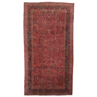 RugsinDallas Antique Hand Knotted Wool Persian Mashhad Rug - 9′7″ × 18′4″