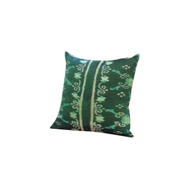 Green Boho Handwoven Ikat Pillow - Image 1 of 5